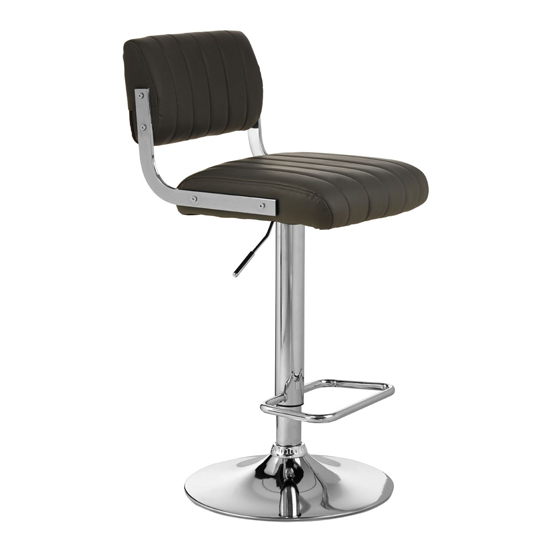 Porrima Channel Design Leather Seat Bar Stool In Grey