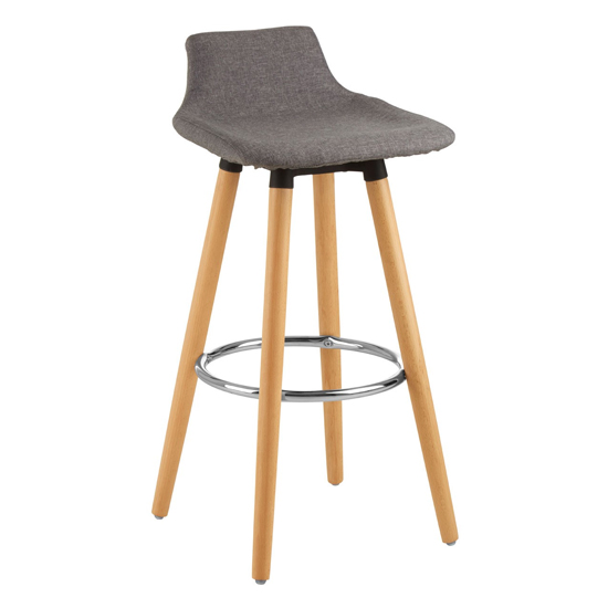 Porrima Fabric Seat Bar Stool In Grey
