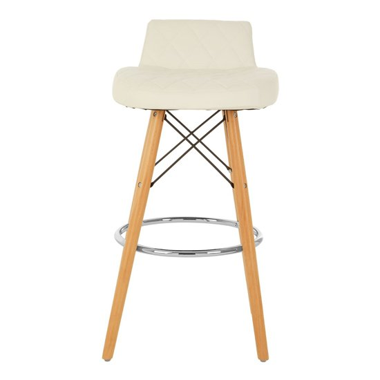 Porrima Faux Leather Bar Stool In White With Natural Legs
