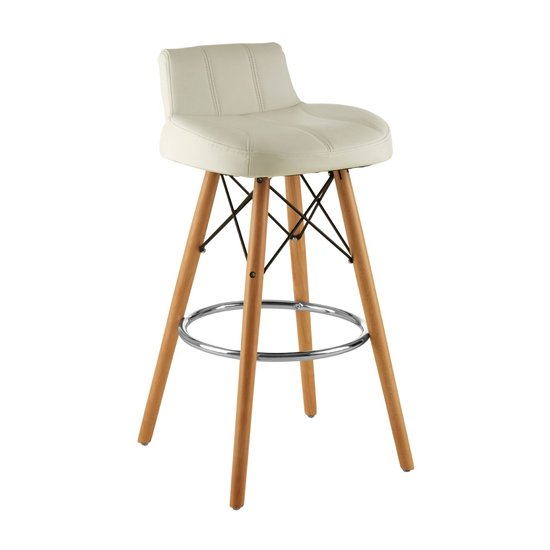 Porrima Faux Leather Effect Bar Stool In White