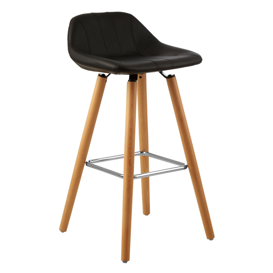Porrima Faux Leather Bar Stool In Black