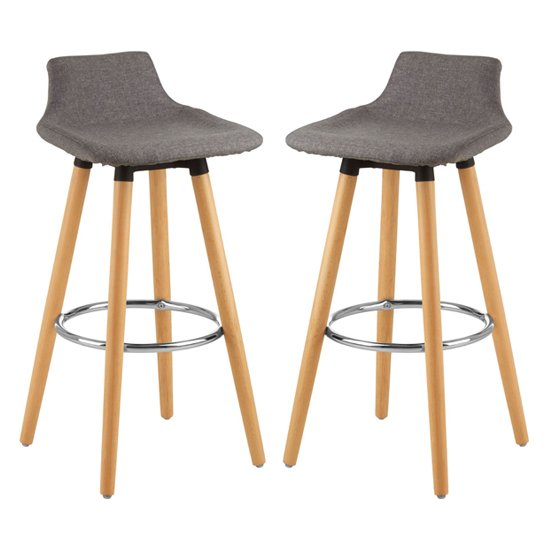 Porrima Grey Fabric Seat Bar Stools In Pair