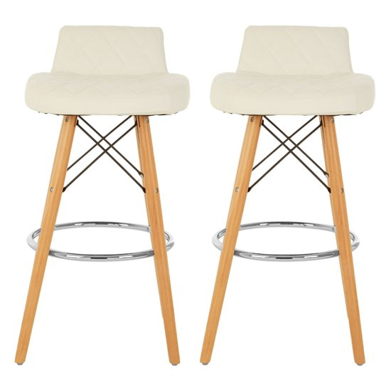 Porrima White Faux Leather Bar Stools With Natural Legs In Pair
