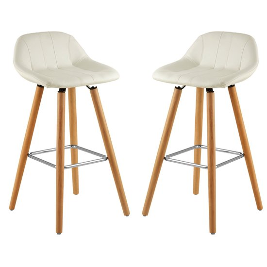 Porrima White Faux Leather Bar Stools In Pair