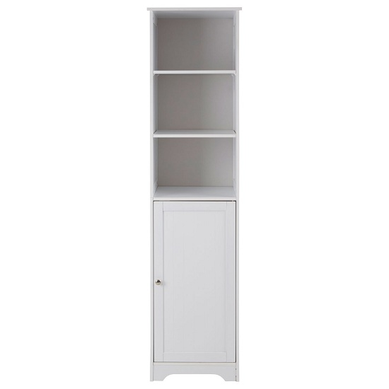 Product photograph showing Matar 3 Shelves Single Door Cabinet In White