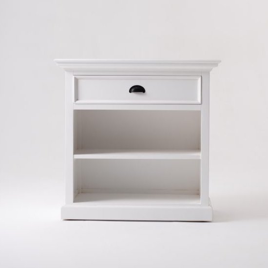 Porth Wooden BedsideTable With shelves In Classic White