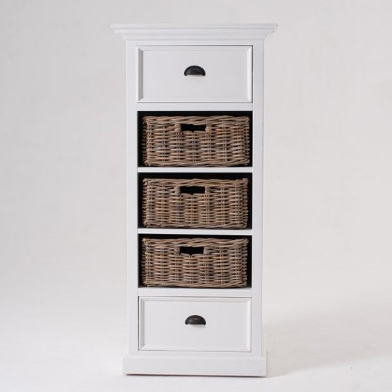 Product photograph showing Porth Wooden Storage Unit With Basket Set In Classic White