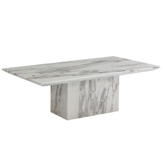 Portia Marble Coffee Table Rectangular In White Carerra