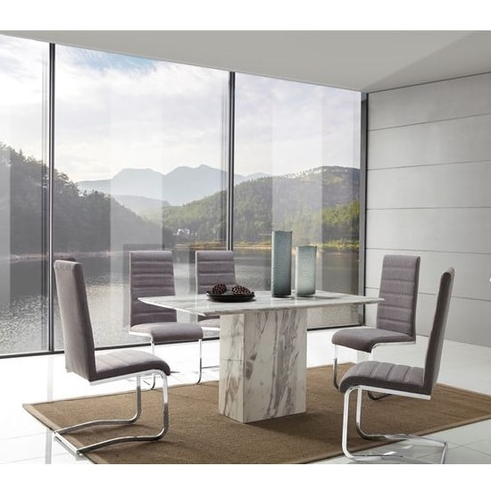 Portia Marble Dining Table In White Carrera With 6 Chairs