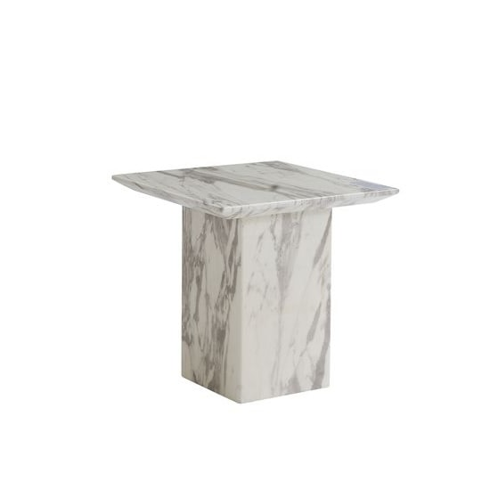 Portia Marble Lamp Table Square In White Carerra