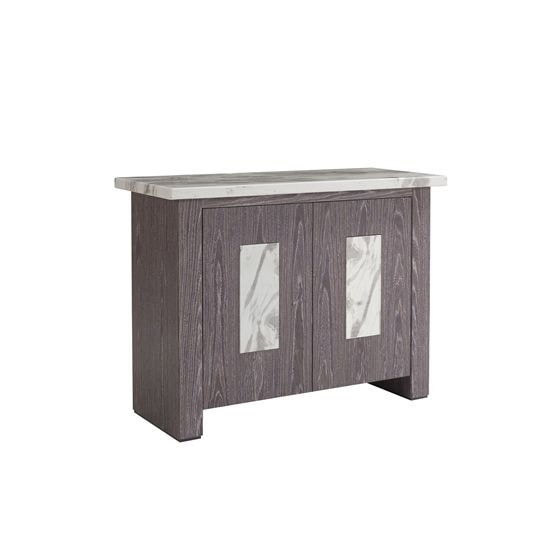 Portia Wooden Sideboard In Marble Top White Carrera With 2 Doors