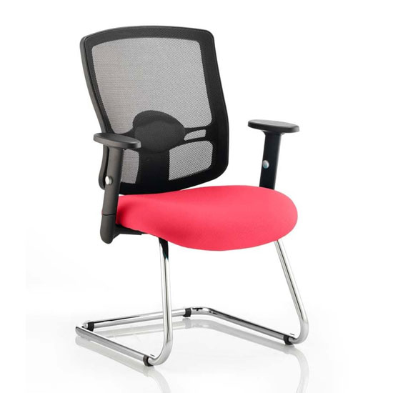 Portland Black Back Visitor Chair With Bergamot Cherry Seat