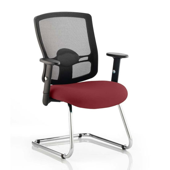 Portland Black Back Visitor Chair With Ginseng Chilli Seat
