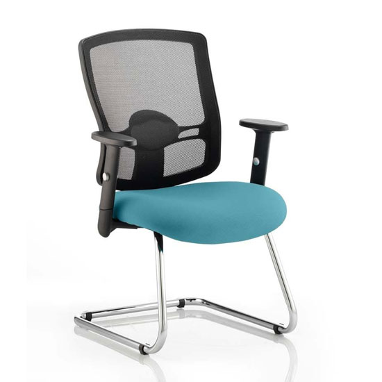 Portland Black Back Visitor Chair With Maringa Teal Seat
