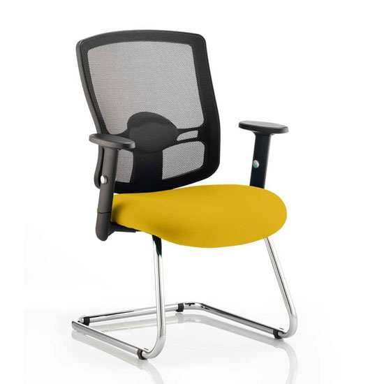 Portland Black Back Visitor Chair With Senna Yellow Seat