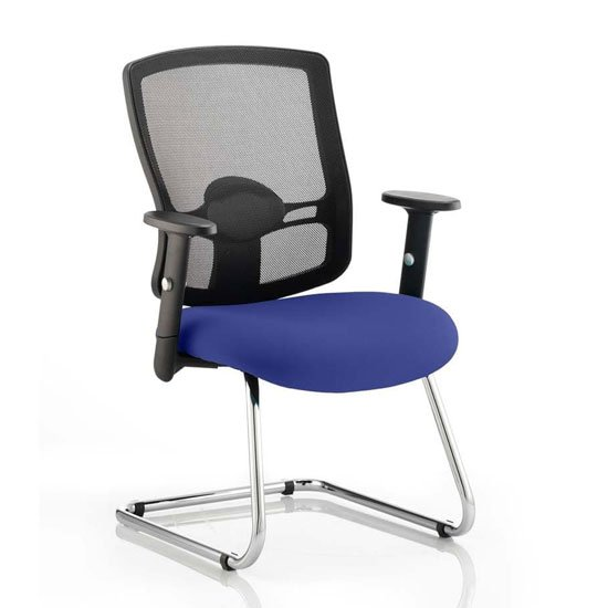 Portland Black Back Visitor Chair With Stevia Blue Seat