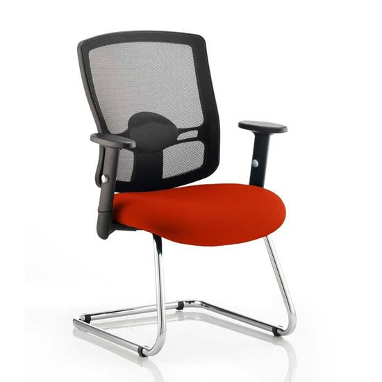 Portland Black Back Visitor Chair With Tabasco Red Seat