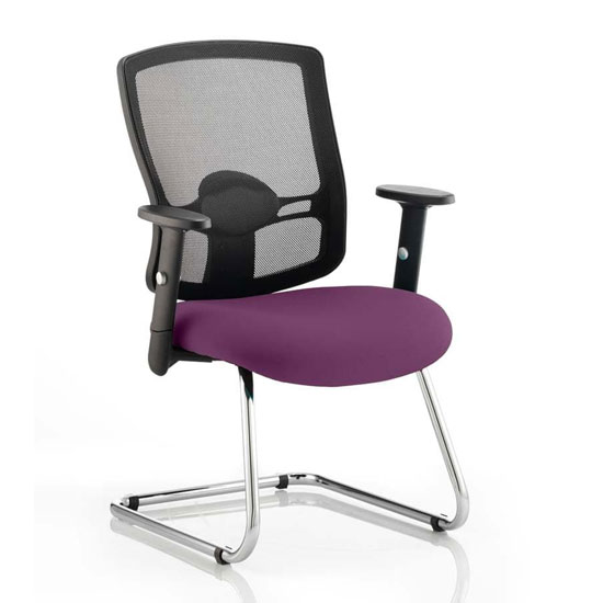 Portland Black Back Visitor Chair With Tansy Purple Seat
