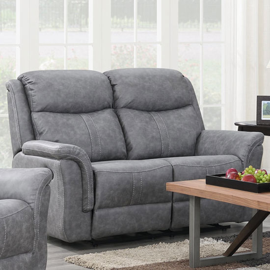 Portland Fabric 2 Seater Recliner Sofa In Silver Grey