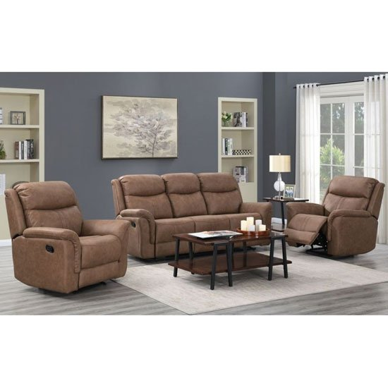 Portland Fabric 3 And 2 Seater Sofa Suite In Dark Taupe_1