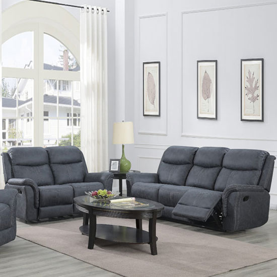 Portland Fabric 3 And 2 Seater Sofa Suite In Slate Grey