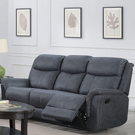 Portland Fabric 3 Seater Recliner Sofa In Slate Grey_1