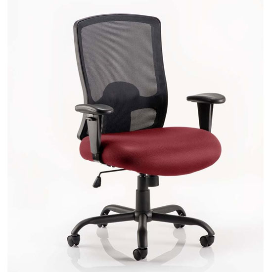 Portland HD Black Back Office Chair With Ginseng Chilli Seat