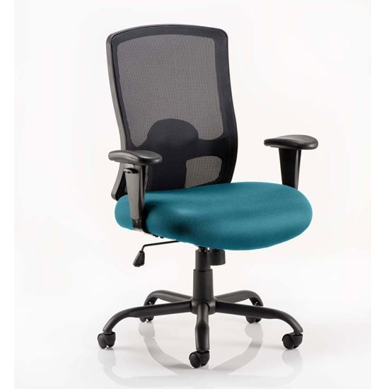 Portland HD Black Back Office Chair With Maringa Teal Seat
