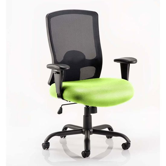 View Portland hd black back office chair with myrrh green seat