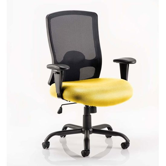 Portland HD Black Back Office Chair With Senna Yellow Seat
