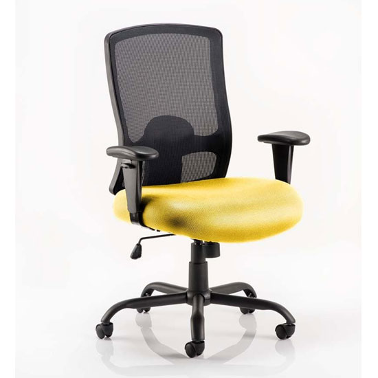 Portland HD Black Back Office Chair With Senna Yellow Seat_1