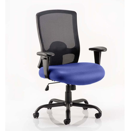 Portland HD Black Back Office Chair With Stevia Blue Seat