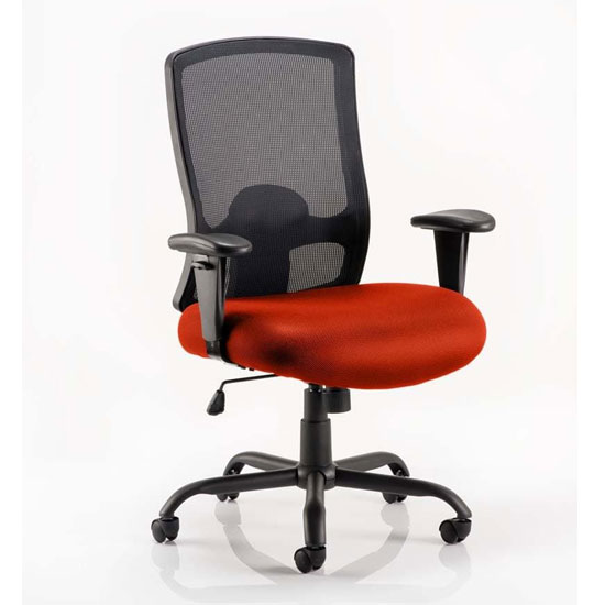 Portland HD Black Back Office Chair With Tabasco Red Seat