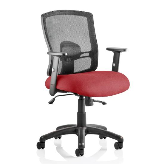 Portland II Black Back Office Chair With Ginseng Chilli Seat