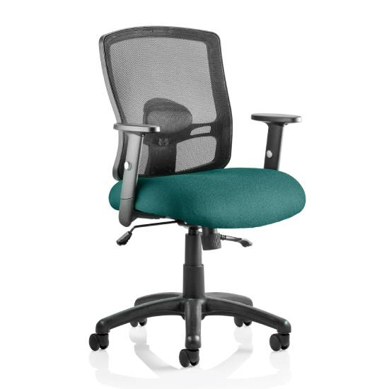 Portland II Black Back Office Chair With Maringa Teal Seat