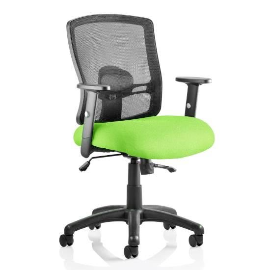 Portland II Black Back Office Chair With Myrrh Green Seat
