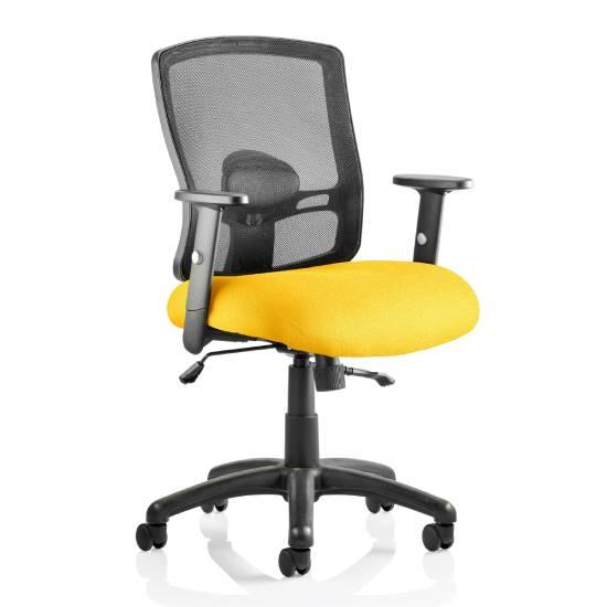Portland II Black Back Office Chair With Senna Yellow Seat
