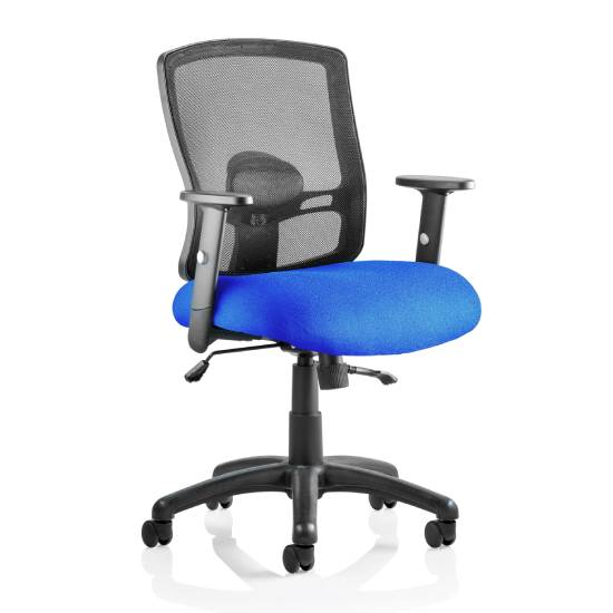 Portland II Black Back Office Chair With Stevia Blue Seat