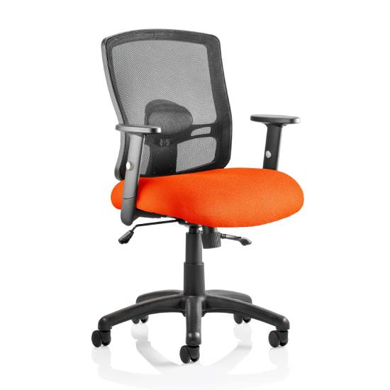 Portland II Black Back Office Chair With Tabasco Red Seat