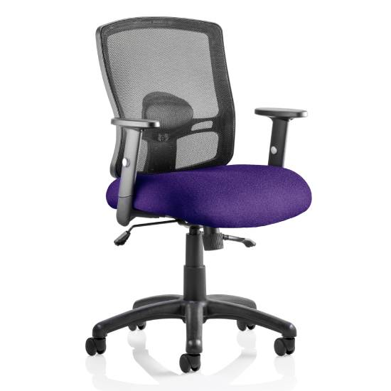 Portland II Black Back Office Chair With Tansy Purple Seat