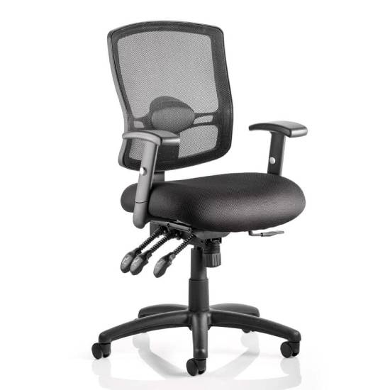 Portland III Black Back Office Chair With Black Seat