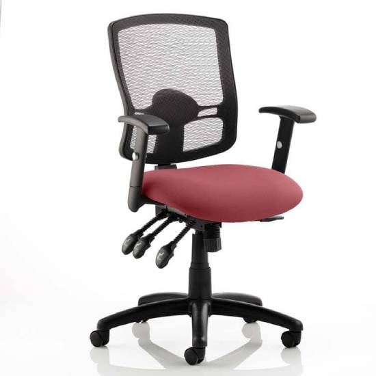 Portland III Black Back Office Chair With Ginseng Chilli Seat