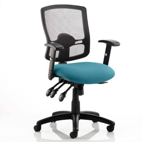 Portland III Black Back Office Chair With Maringa Teal Seat