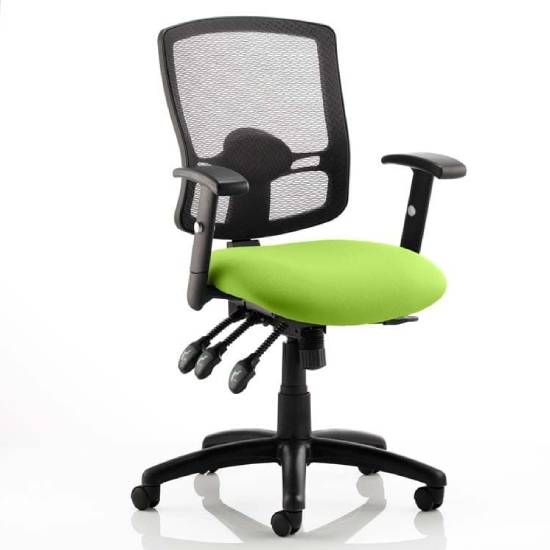 Portland III Black Back Office Chair With Myrrh Green Seat