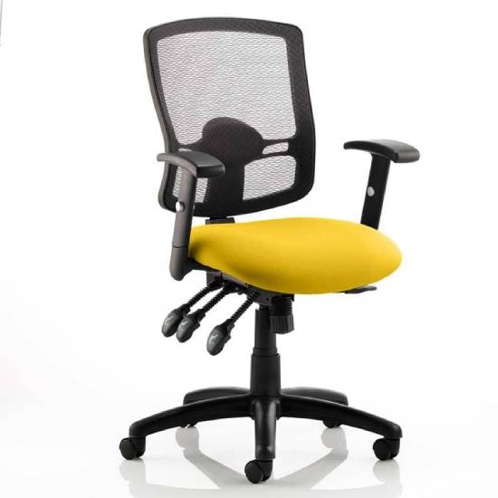 Portland III Black Back Office Chair With Senna Yellow Seat