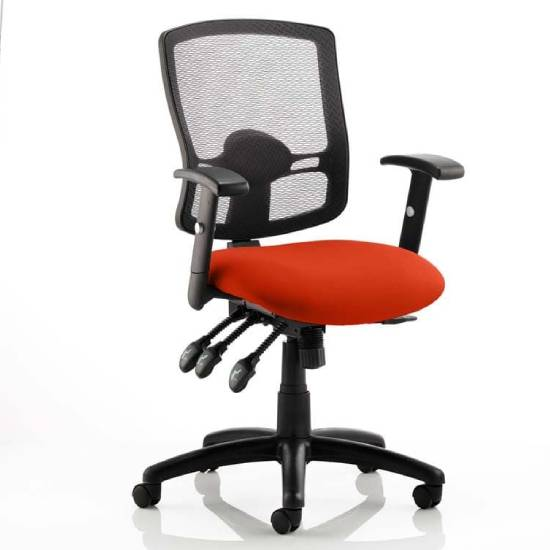Portland III Black Back Office Chair With Tabasco Red Seat