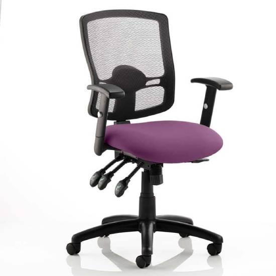 Portland III Black Back Office Chair With Tansy Purple Seat