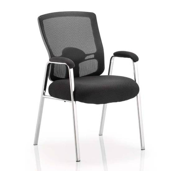 Portland Straight Leg Visitor Chair With Black Seat