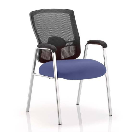 Portland Straight Leg Visitor Chair With Stevia Blue Seat