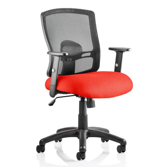 Portland Task Black Back Office Chair With Bergamot Cherry Seat